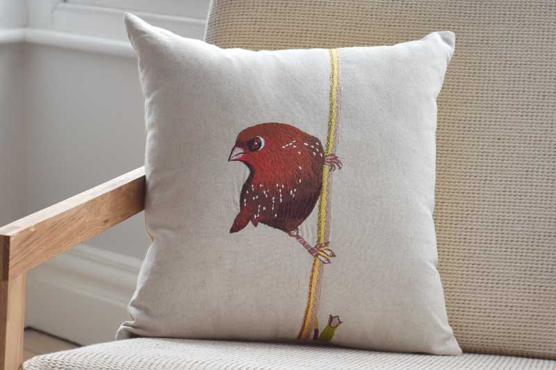 Embroidered Red Bird 45cm Cushion Futon Company