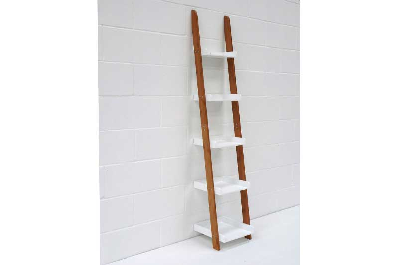 Leaning Ladder Shelves In Bamboo And White Futon Company
