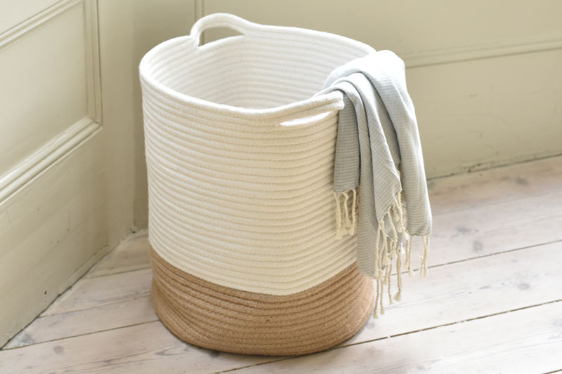 Jute & Cotton Storage Basket with Handle | Futon Company