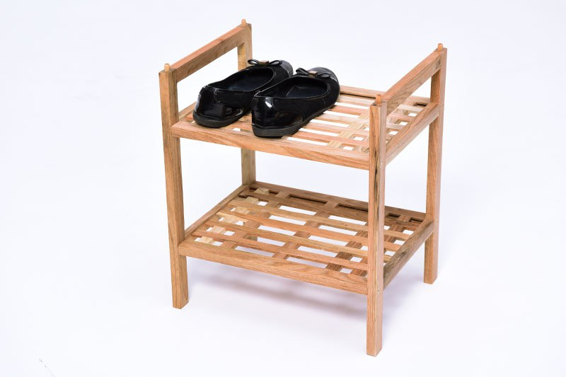 Small Stacking Shoe Rack Solid Walnut