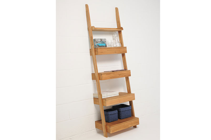 Natural Oak Leaning Shelves With Drawer Futon Company