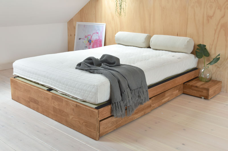Contemporary Platform Double Bed Solid Oak Futon Company