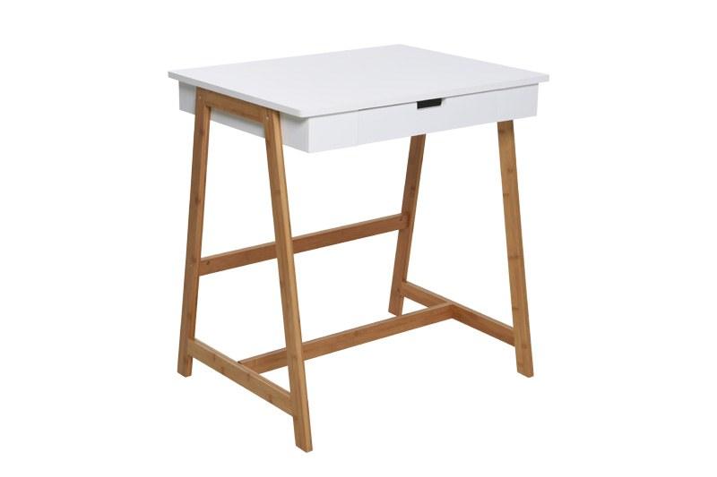 White Amp Bamboo Mini Study Desk