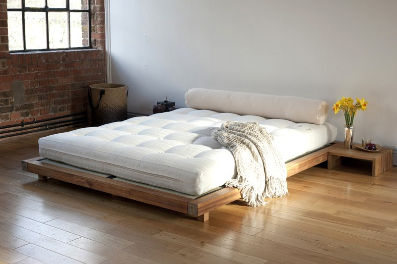 Low Wooden Contemporary Bed In Solid Acacia Futon Company