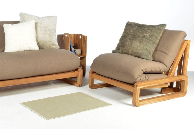 Single Seater Solid Oak Wooden Sofa Bed Futon Company