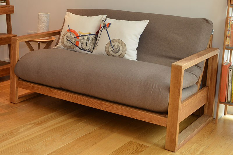 2 Seater Oak Wood Sofa Bed Futon Company