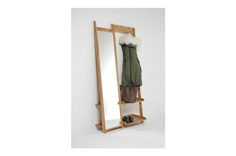 Full Length Leaning Mirror With Shelves Oak Futon Company