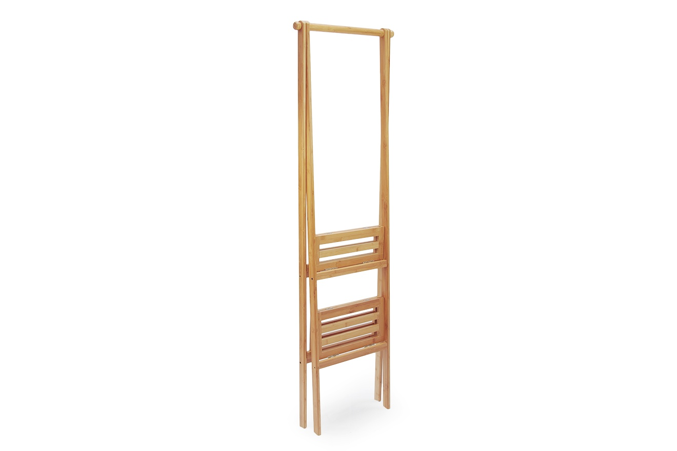 Bamboo 2 Shelf Folding Narrow Wardrobe Futon Company
