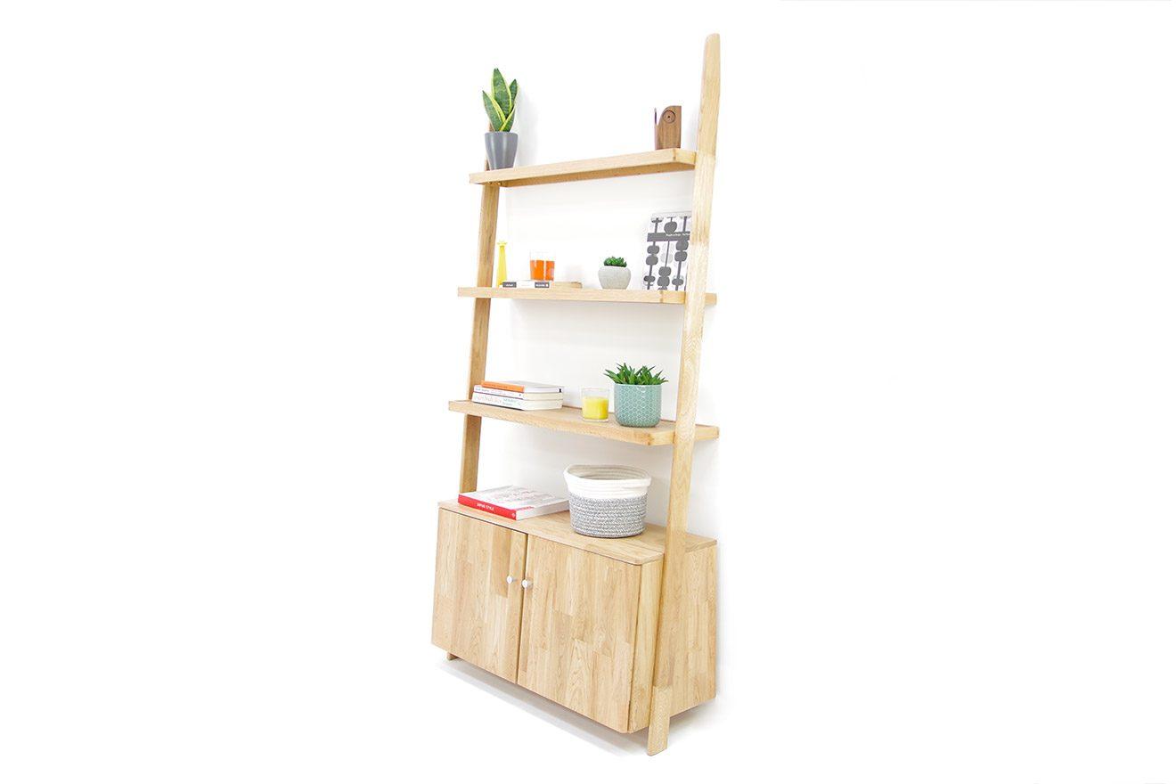 Oak Leaning Ladder Cabinet