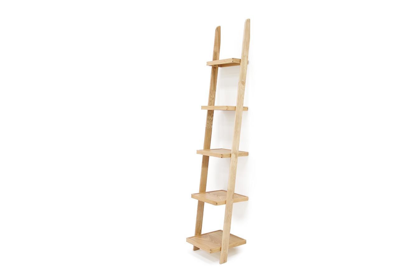 Narrow Oak Leaning Ladder Shelves