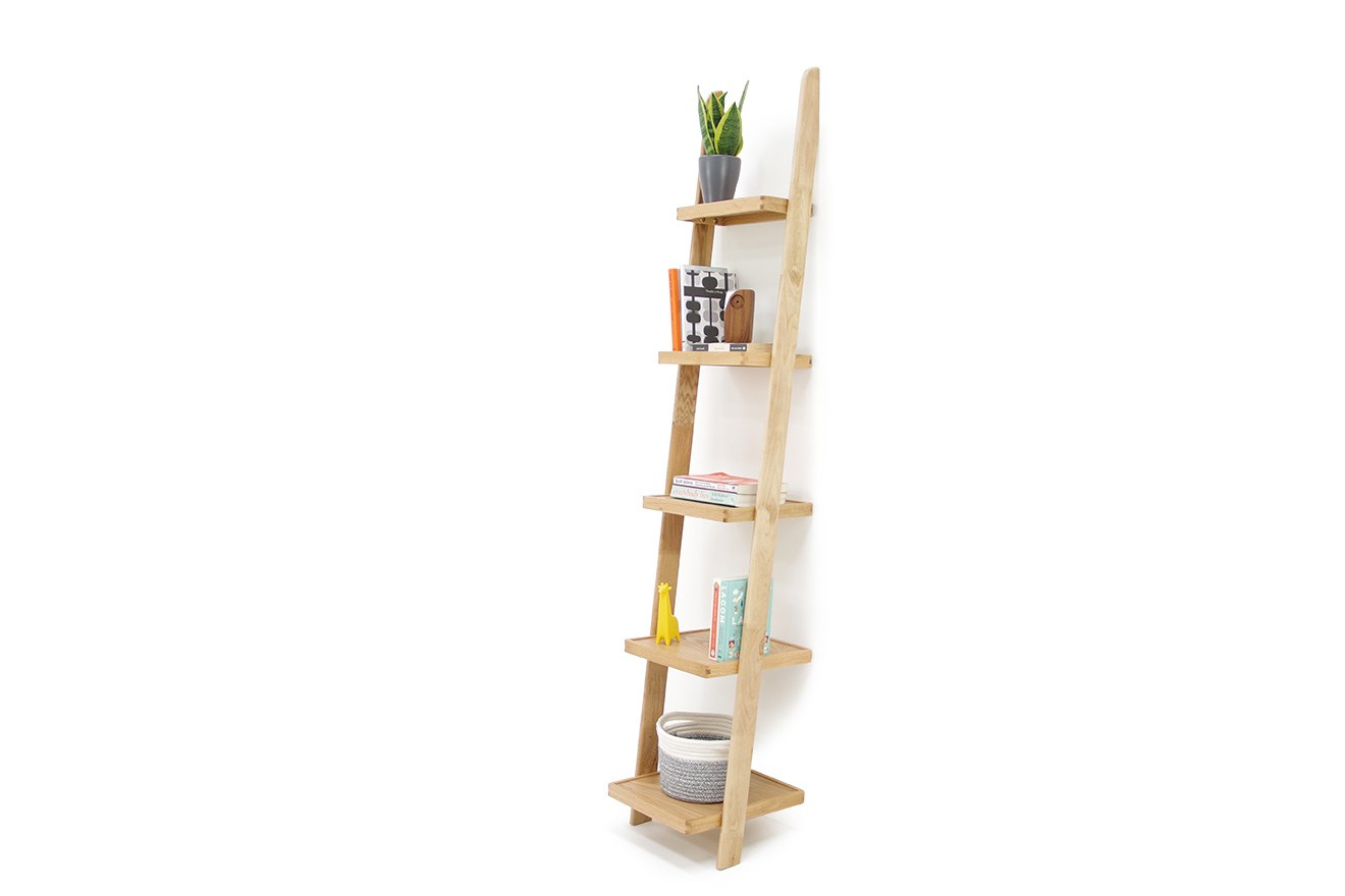Narrow Oak Leaning Ladder Shelves