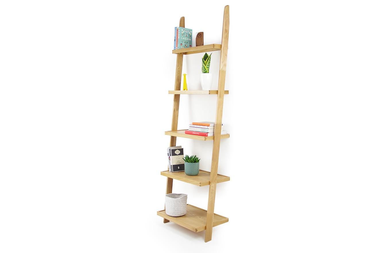Leaning Ladder Shelves In Oak Futon Company