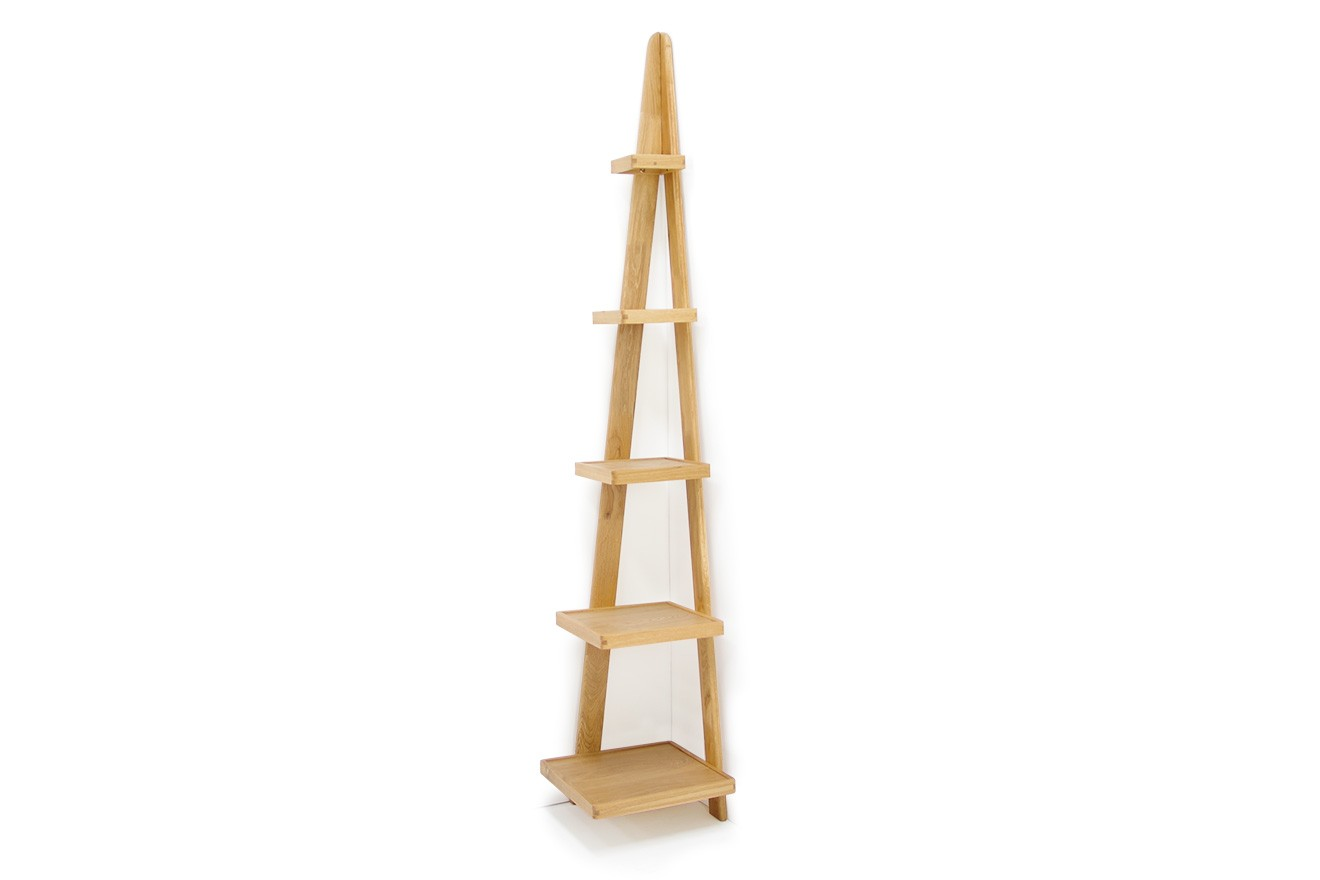 Oak Corner Leaning Ladder Shelves