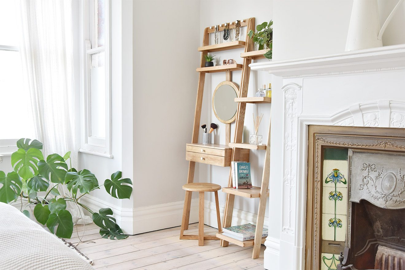 Natural Oak Ladder Shelves Slim Narrow Futon Company