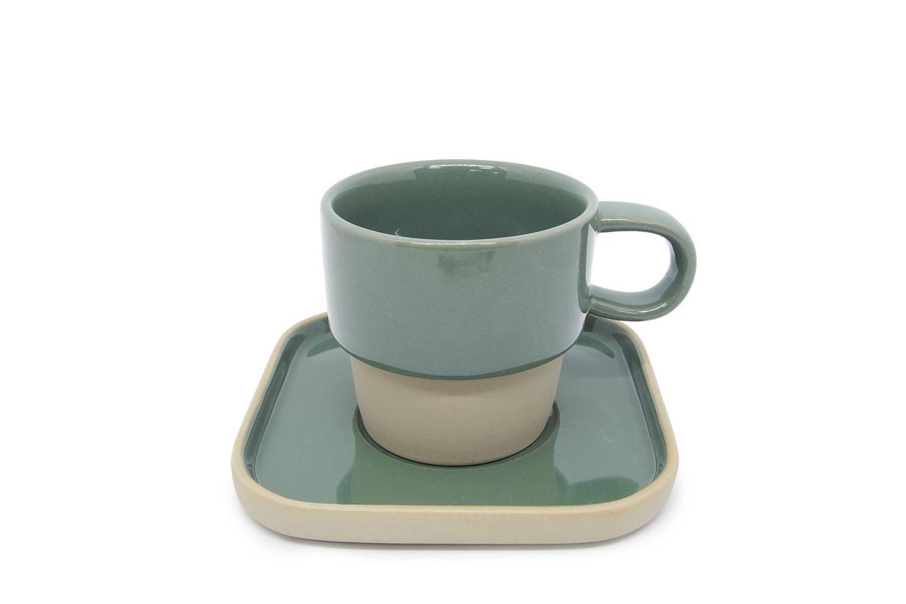 Modern Rustic Pottery Cup Amp Saucer Set Futon Company
