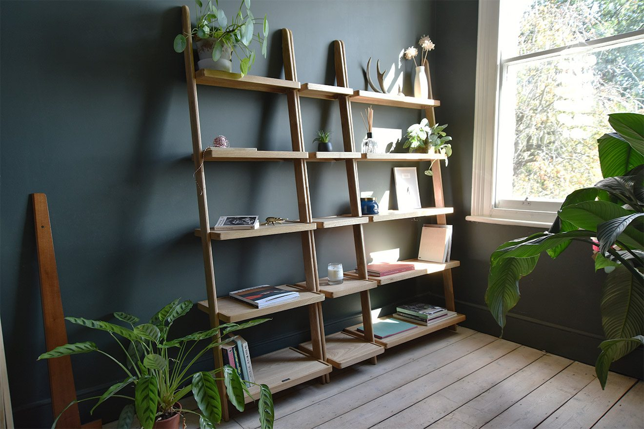 Leaning Ladder Shelf In Oak Wood Futon Company