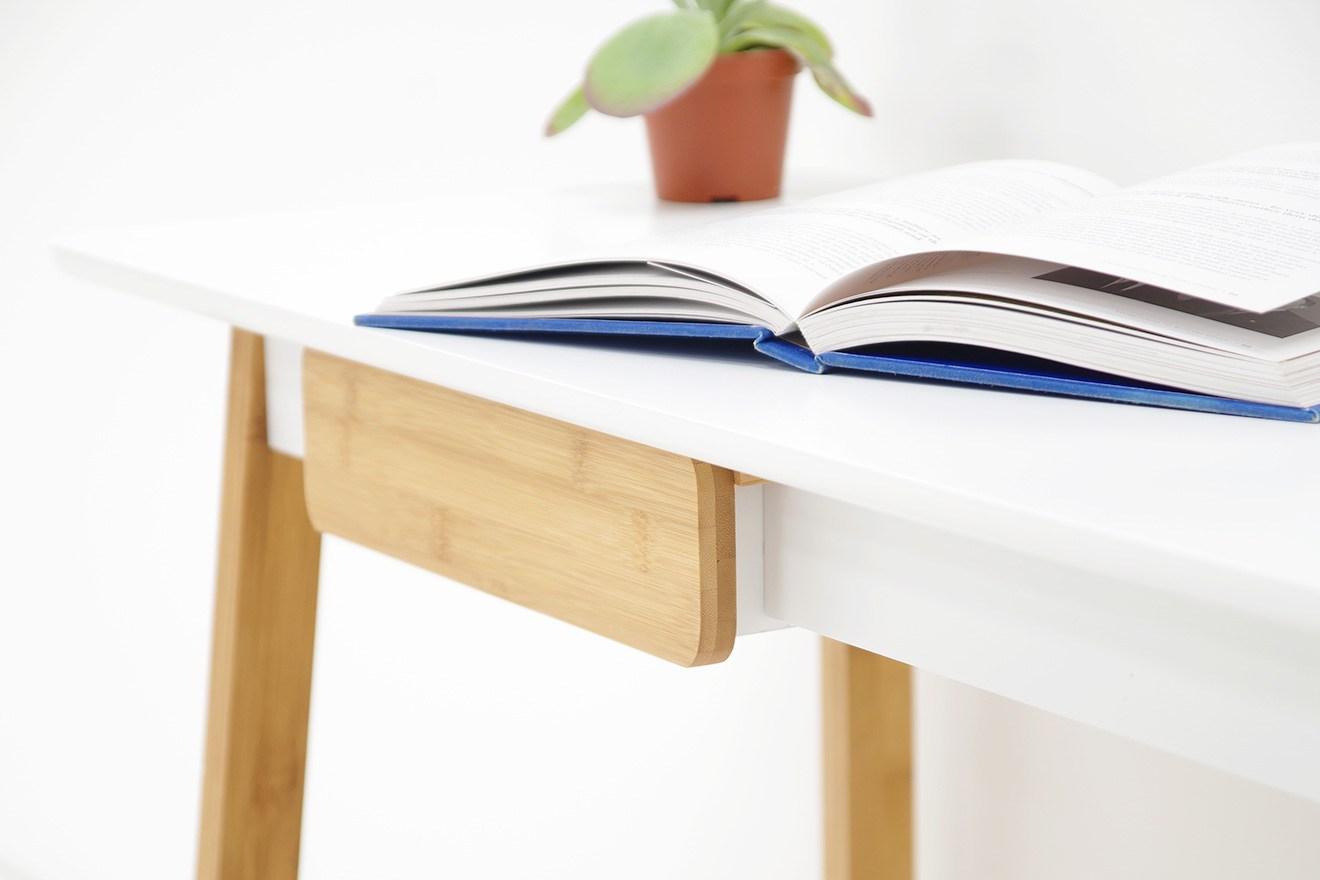 White Mdf Amp Bamboo Mini Study Desk Futon Company