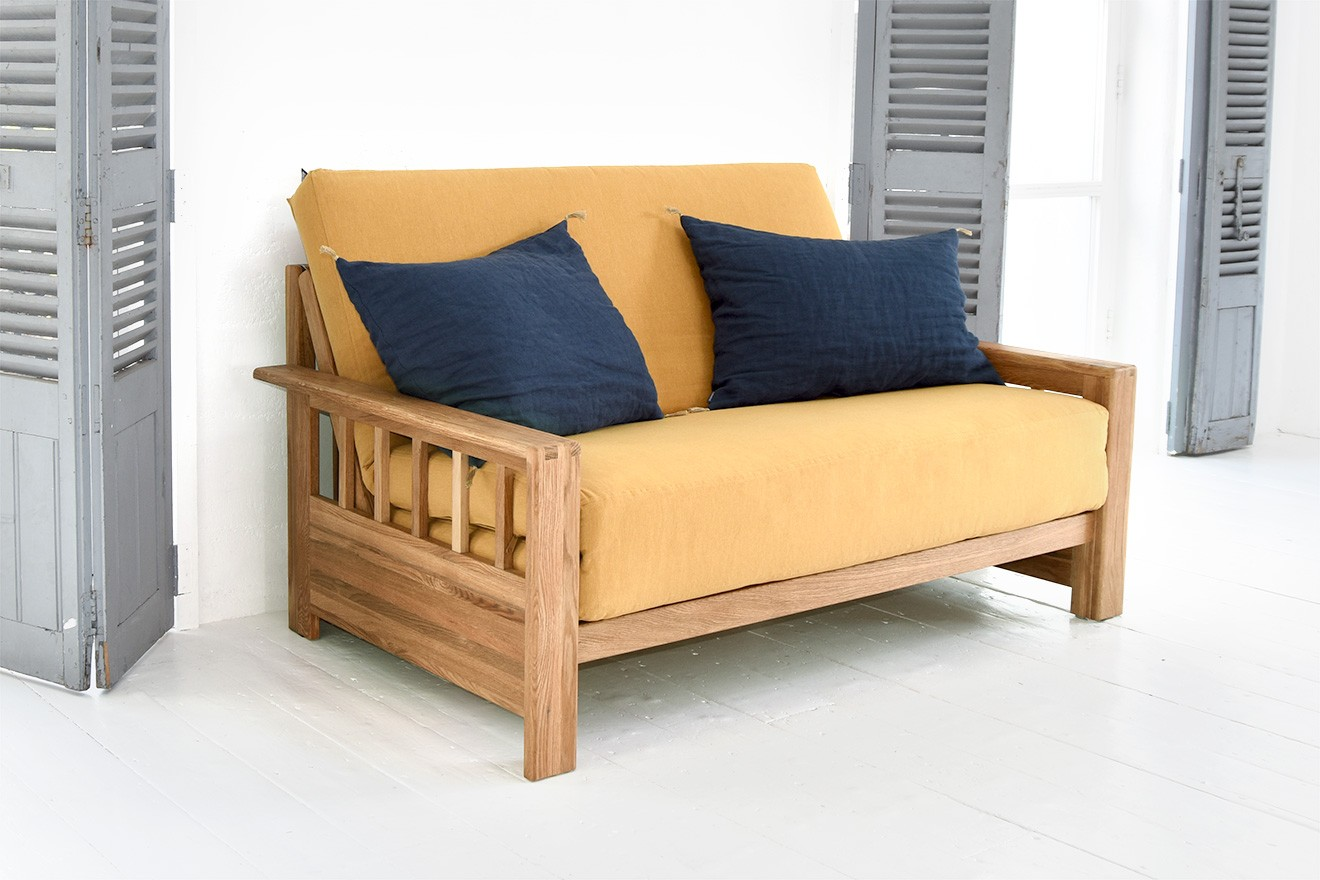 2 Seater Solid Wood Double Sofa Bed In Oak Futon Company
