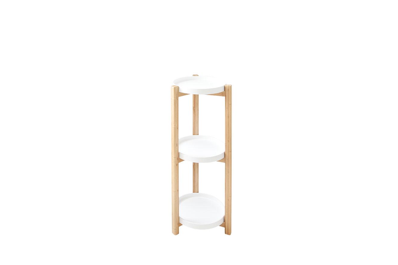 3 Tier Circular Bamboo White Bathroom Shelf Futon Company
