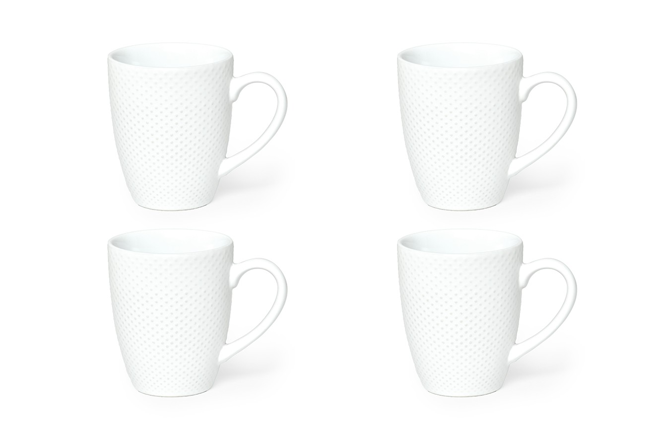 Four coffee cups of different types on