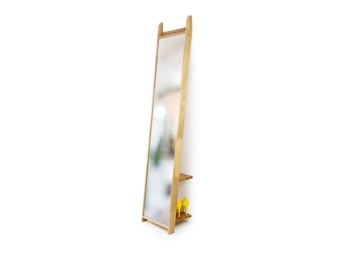 Oak Rounded Leaning Mirror