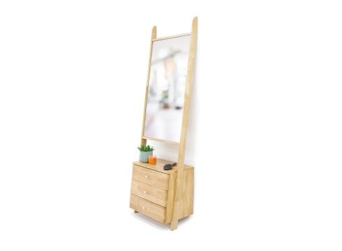 Oak Leaning Ladder Mirror Drawers