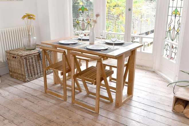 Console-table-with-folding-chair
