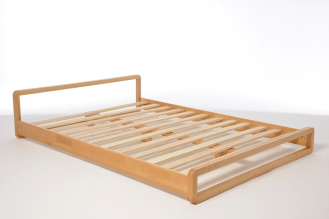 Low Wooden Double Bed In Solid Birch Futon Company