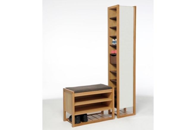 Oak Hallway Bench With Shoe Tower