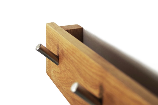 Oak lLetter Storage Hook Rail inside