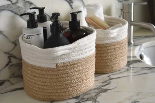 Jute And Natural Baskets Dressed For Bathroom
