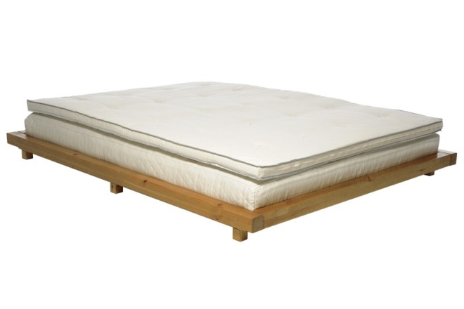 Platform Bed Pine With Elm Stain Frame Deepsleep Mattress And Topper