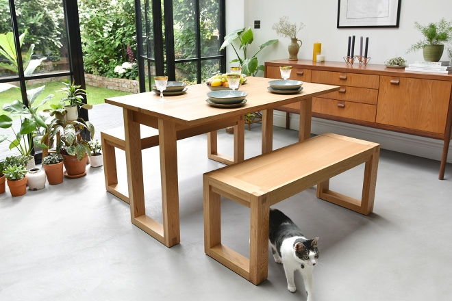 Oak Console Table with benches