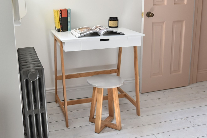 White Amp Bamboo Mini Study Desk