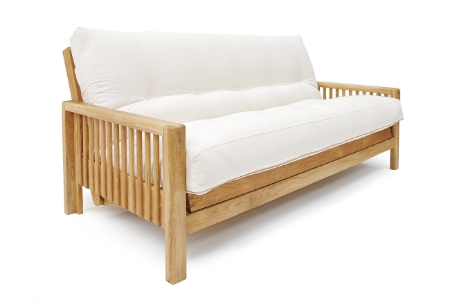 3 Seater Sofa Bed Solid Oak
