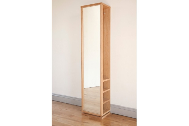 Storage Oak Mirror Shelf 1