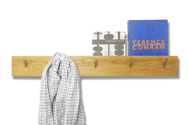 Oak Letter Storage Hook Rail with books
